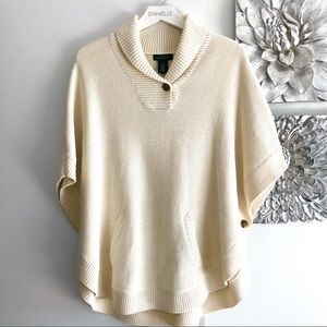 RALPH LAUREN Cream Knit Cape Sweater